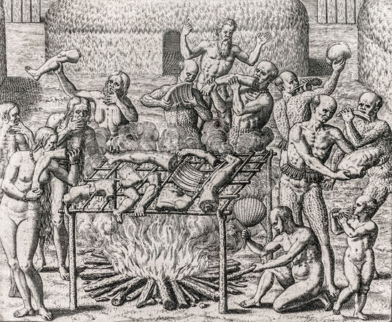 Cannibalism in Brazil, engraving, Theodor de Bry