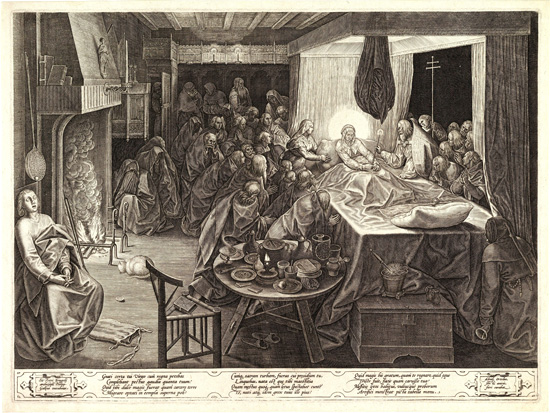 Pieter Breugel the Elder, Dormition of the Virgin, engraving by Phillips Galle