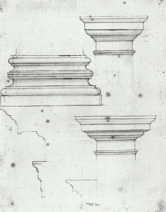studies of a base and capitals for the Laurentian Library