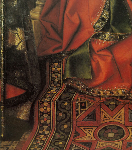 detail of Madonna with Canon Joris van der Paele, van Eyck