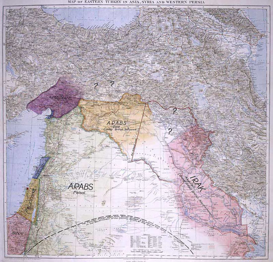 T.E. Lawrence's Map, presented to the Eastern Committee of the War Cabinet in 1918