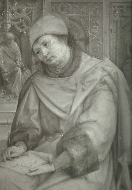 Jan Gossaert, St. Luke Drawing the Virgin (infrared reflectogram, detail)