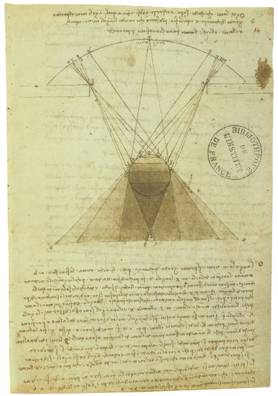 Light from a window on an umbrous sphere, Leonardo da Vinci